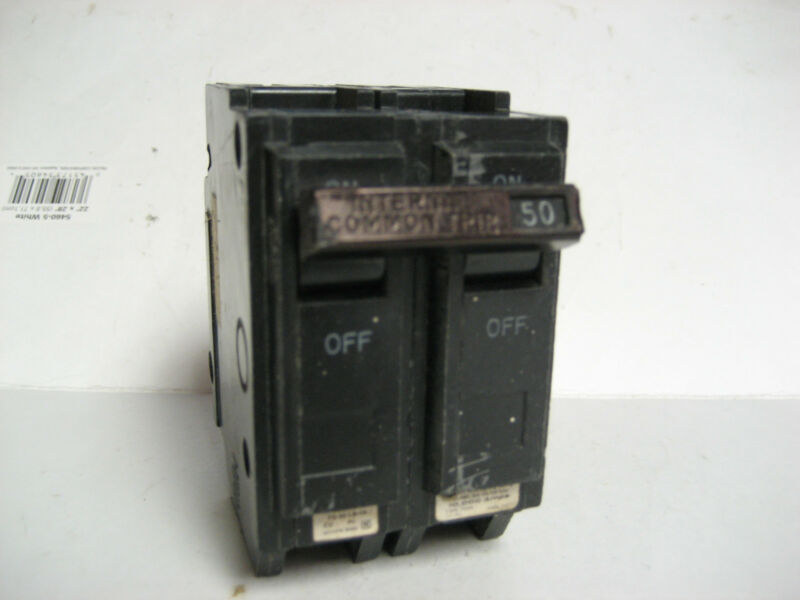 * LOT OF 5 GENERAL ELECTRIC  50A  2 POLE   BREAKERS  THQL2150       WK-06
