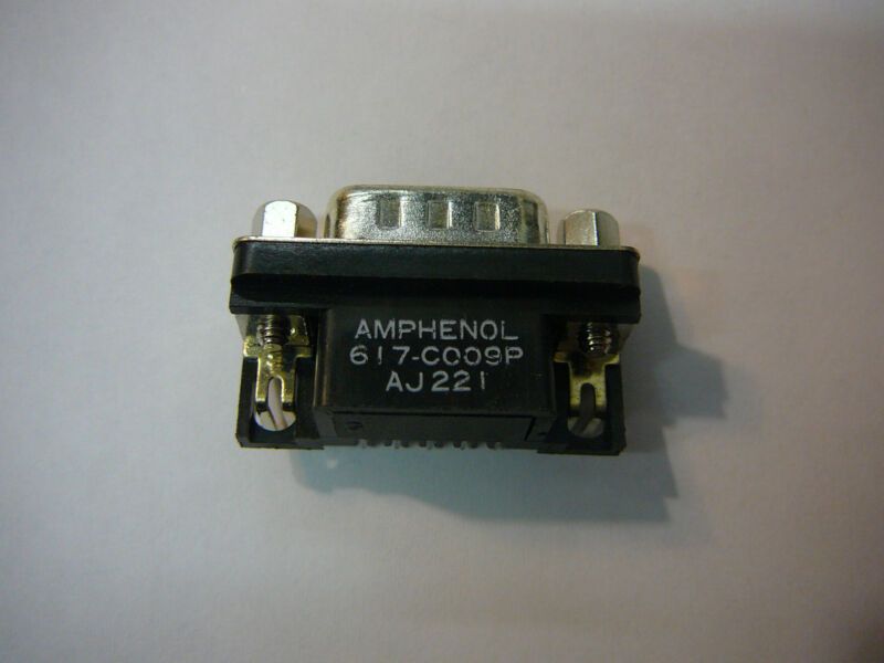 AMPHENOL DSUB Connector 9 position pin GOLD Right Angle **NEW** Qty.5