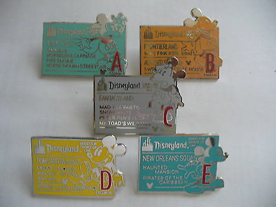 DISNEY PINS DISNEYLAND CAST LANYARD SERIES RIDE  TICKETS 5 PIN  COMPLETE SET