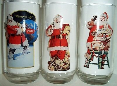 LOT#64  FULL SET SERIES 2 II COCA COLA HADDON SUNDBLOM SANTA COLLECTOR GLASSES
