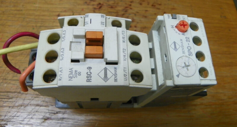 BENSHAW RSC-9 SPO-22 CONTACTOR OVERLOAD RELAY SIZE 00
