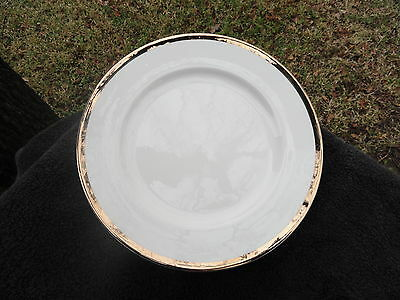 - Pier 1 Gold Band Shiny Gold Trim Solid Pure White Dinner Plate