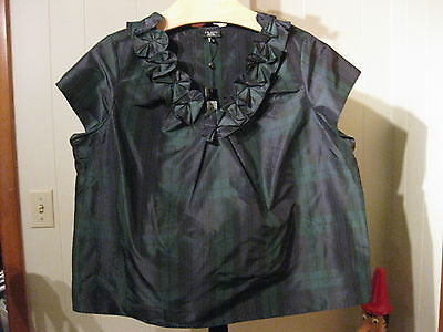 MISSES BLACK WATCH PLAID SILK BLOUSE ROSETTE TRIM TALBOTS 4 6 $89  Black Watch Silk Tartan