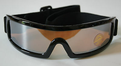 9410c6ffdc 100%UV400 Wrap around Goggle- shiny Black plastic frm w  ambor ploy carbon  lense