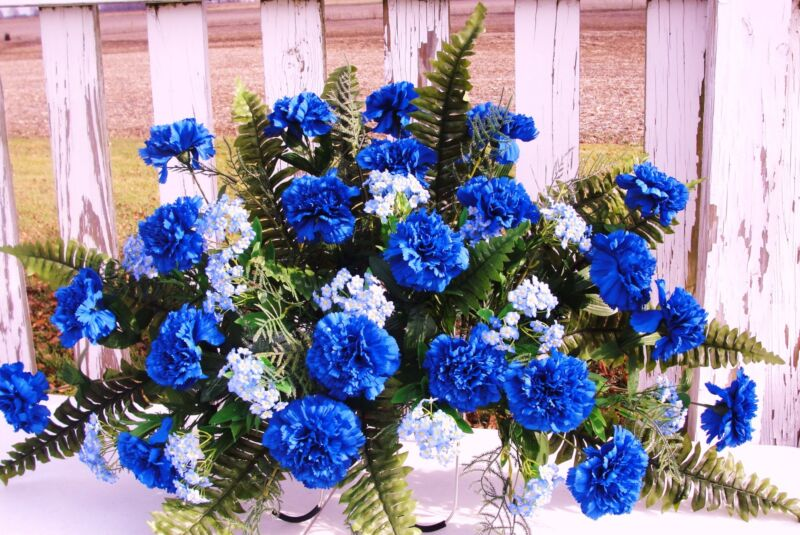 Artificial Fathers Day Cemetery Memorial Grave Silk Flowers Blue Carnations Dad