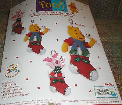 Bucilla Pooh & Piglet Stocking Surprise 84172 Sequined Ornament Kit NIP