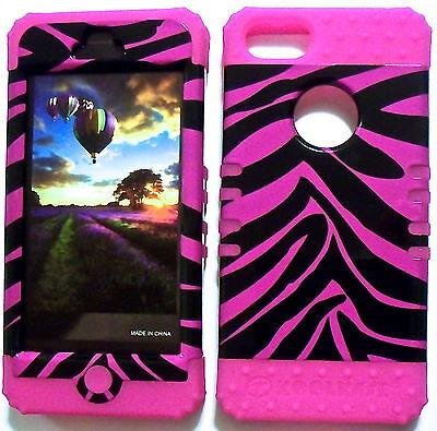 Hot Pink Zebra Pink Skin Hybrid Apple iPhone 5 Rubber Hard Protector Cover -