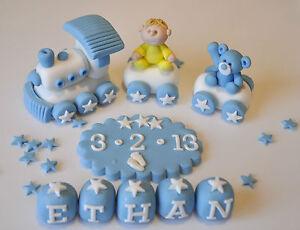 EDIBLE CHRISTENING BABY TRAIN TEDDY DECORATION BIRTHDAY CAKE TOPPER BOY--GIRL