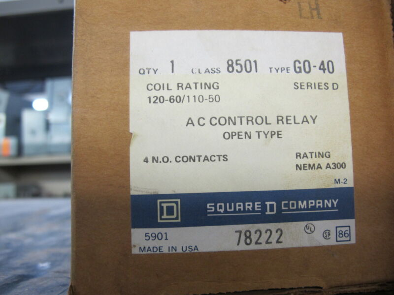 Square D 8501GO40 Control Relay, 120 VOLT COIL, SERIES D - NEW