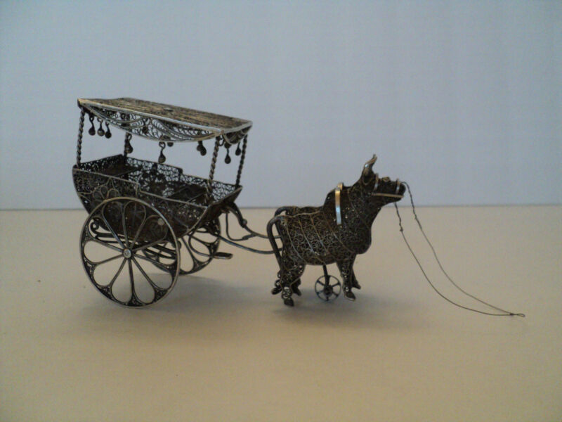 UNUSUAL NOVELTY ANTIQUE CONTINENTAL SILVER FILIGREE CARRIAGE PULLED BY TWO BULLS