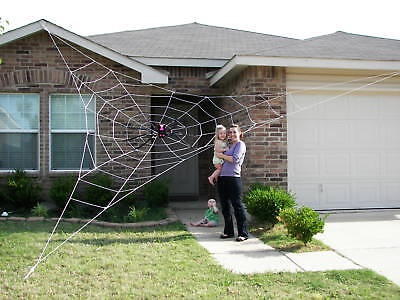 25' GIANT Rope Spider Web Halloween House Yard Prop Decoration