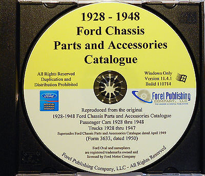 1928 - 1948 FORD CAR AND TRUCK CHASSIS MASTER PARTS ACCESSORIES CATALOG CD-ROM