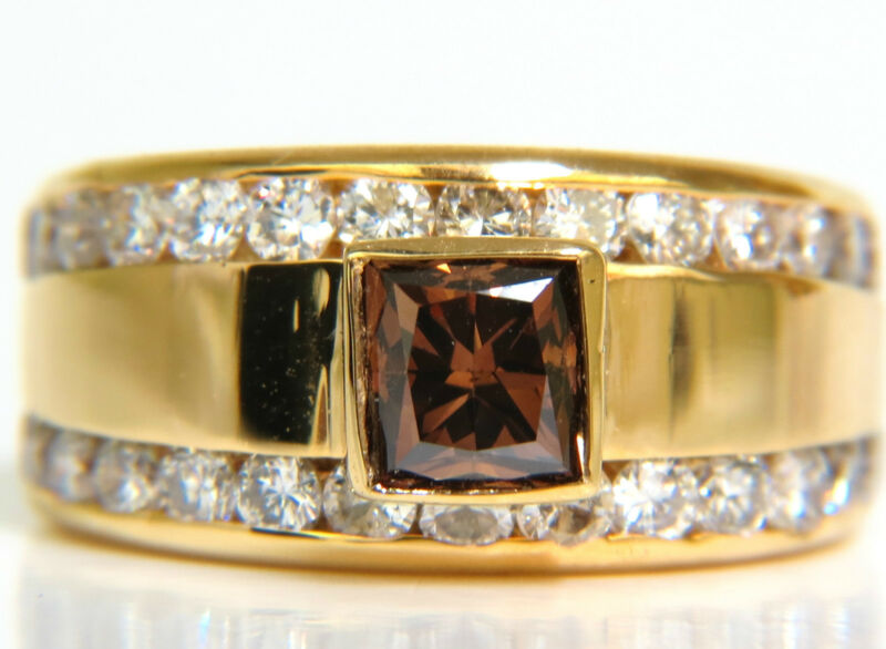 █$9000 3.21CT NATURAL FANCY VIVID BROWN DIAMOND RING 14KT VS█