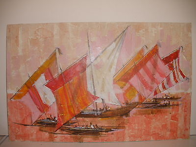 LISTED JAMES ALFRED MEESE AMERICAN IMPRESSIONISM PAINTING REGATTA SAILING BOATS