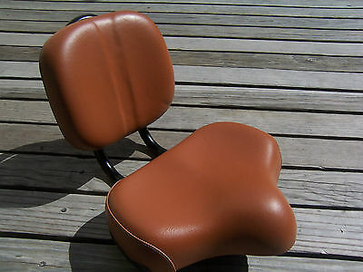 Brown Bicycle Seat W Back Rest Beach Cruiser Tricycle Lowrider Bmx Mtb Chopper