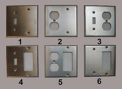 2 GANG COMBO SWITCH DUPLEX DECORA COMBINATION STAINLESS STEEL WALL COVER PLATE 2 Gang Switch Wall Plates