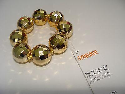 Gymboree Fall for Autumn Girls Bead Bracelet Metallic Gold Disco Ball NEW - Disco Balls For Kids