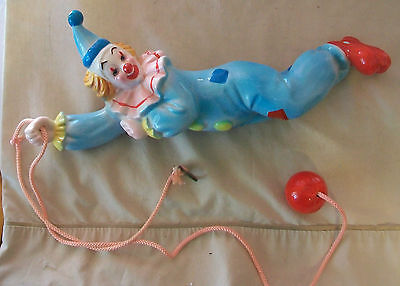 DECORATIVE VINTAGE CERAMIC CLOWN WITH BALL, HANGS FROM CEILING