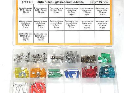 Surtido Fusibles Vehículo 115 Piezas Cristal Torpedo ( Ats ) Y Fusibles...