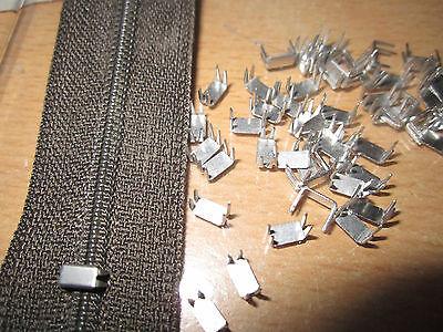 (0,05€ / Stück) 100 Stück Stopper für Reißverschlüsse Farbe: Silber (2torbstop1)
