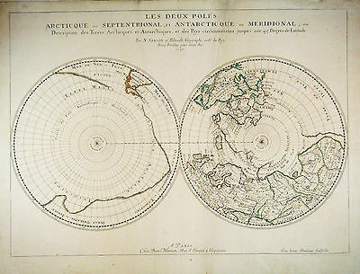 1657 Antique map Hemispheres Polar Projections, Northwest Passage. by Sanson