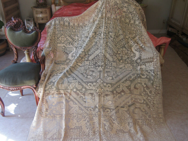 Antique Early & FINE Rarest  French Figural Linen Lace Bedspread/Coverlet/Panel