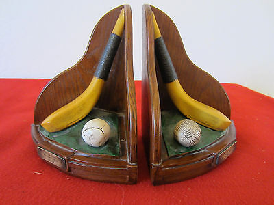 PR. OF, FAUX VINTAGE REPLICA GOLFING EQUIPMENT BOOKENDS