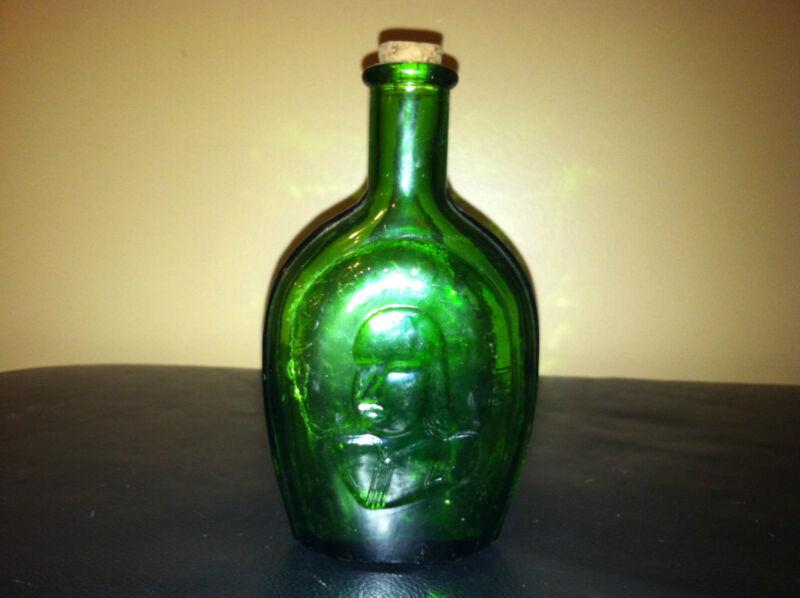 VINTAGE GREEN GLASS BENJAMIN FRANKLIN DECANTER BOTTLE WITH CORK