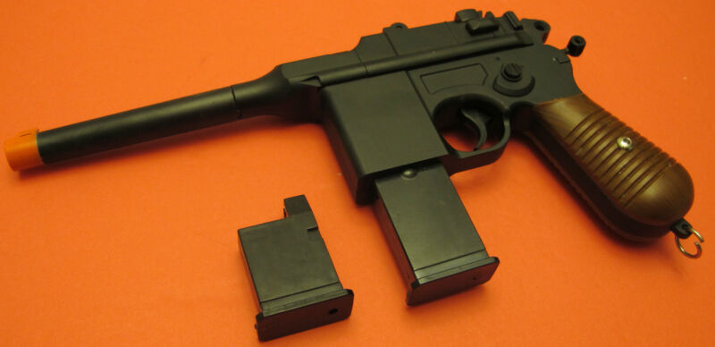 Full Metal Body Airsoft Spring Gun Mauser C96 Style With 2 Magazine Hammer Moves