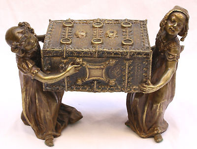 MAGNIFICENT 19C FRENCH ART NOUVEAU BRONZE  JEWELRY BOX