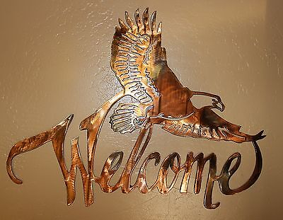 METAL WALL ART EAGLE WELCOME SIGN
