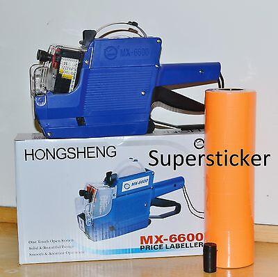 Mx-6600 10 Digits 2 Lines Price Tag Gun Labeler 1 Ink 5000 Orange Tags