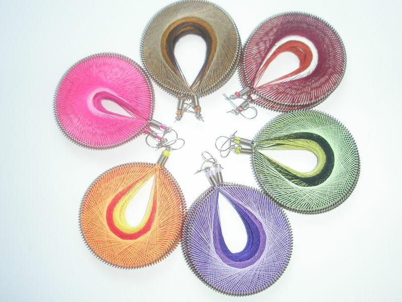 6 Pairs of Peruvian Art Thread Lrg Round -  Earrings