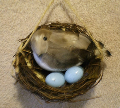 Rustic BIRD IN NEST w/EGGS Christmas Ornament - NEW