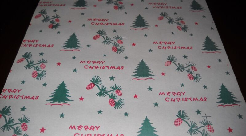 VTG 1940 MERRY CHRISTMAS WRAPPING PAPER GIFT WRAP 2 YARDS PINECONE TREE STAR