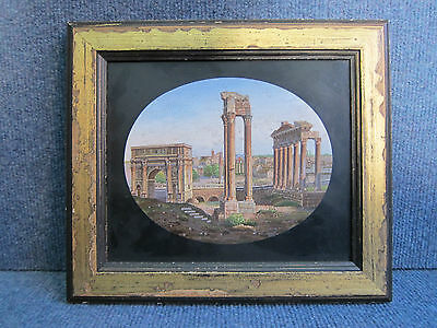 MICRO MOSAIC PLAQUE, ROMAN FORUM, GRAND TOUR OBJECT FINE QUALITY BIG SIZE ITALY