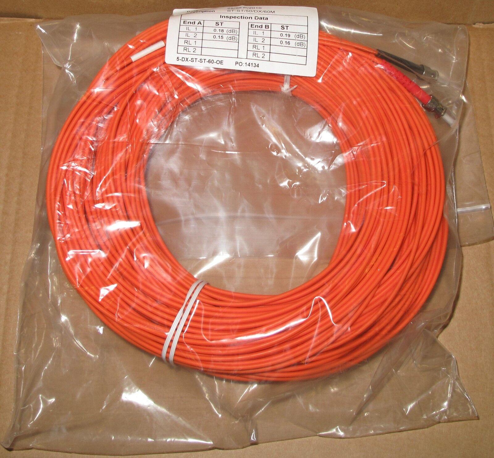 9 x 60M Fibre Channel ST-ST Patch Lead Cable 50/125 ST-ST/50/DX/60M Duplex FC