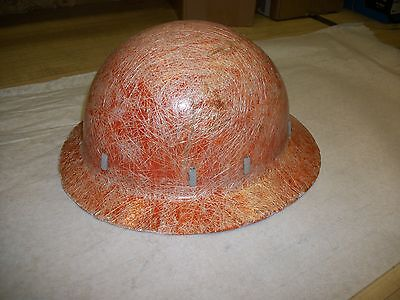 Vintage Orange Fiberglass Hard Hat - 1940s - Opex - Rare