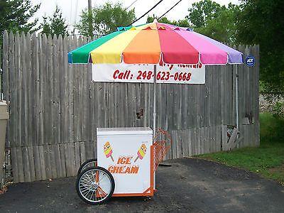 New Vendor Ice Cream Push Cart w/Umbrella & Graphics Good Humor or Novelty (Ice Cream Novelties)