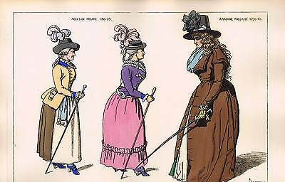 Ladies French & English Fashion Late 1700s Costume Jacquemin Hand Colored - 1869