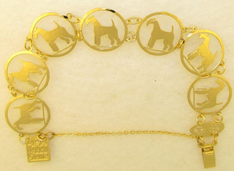 Airedale Terrier Jewelry Gold Airedale Bracelet by Touchstone Dog Designs