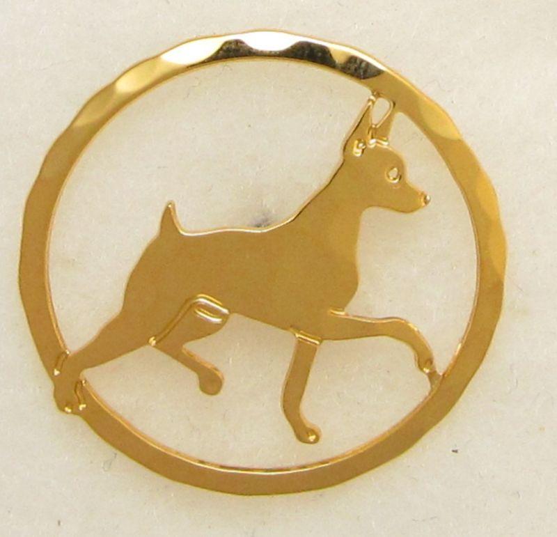 Miniature Pinscher Jewelry Small Gold Pin