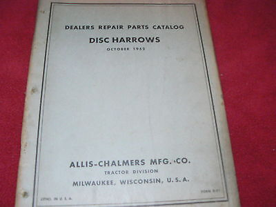 Allis Chalmers Disc Harrows From 1952 Dealers Parts Book