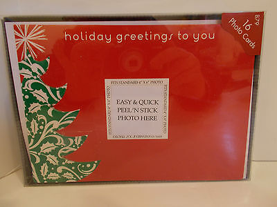 #C NEW IN BOX 16 CHRISTMAS CARDS HOLIDAY GREETINGS PHOTO TREE RED GREEN NEW YEAR