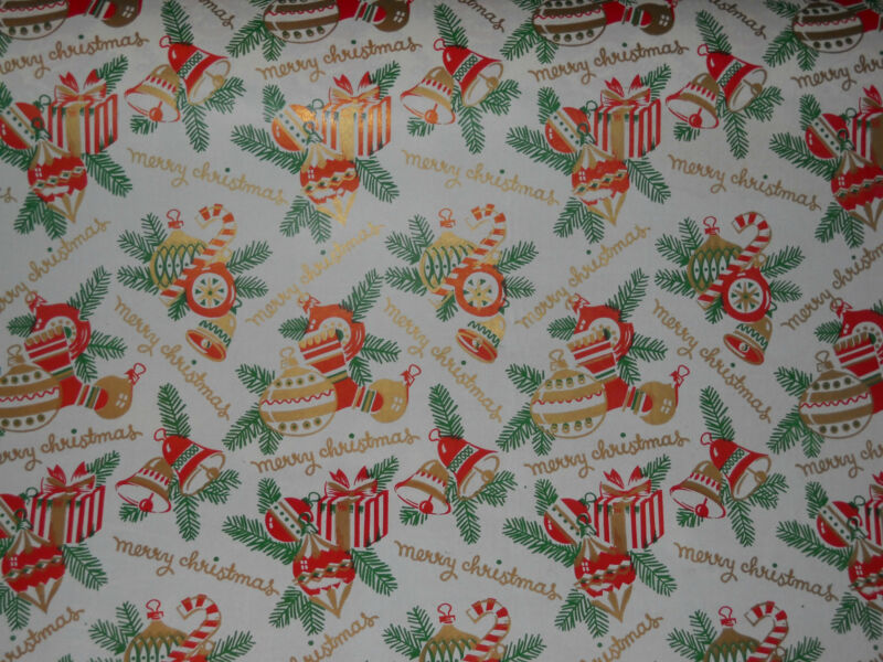 VINTAGE 1940 CHRISTMAS WRAPPING PAPER GIFT WRAP 2 YARDS ORNAMENTS CANDY CANES