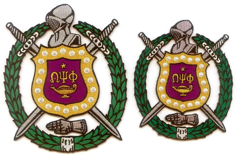 "OMEGA PSI PHI Shield - Crest Patch Set (5"" and 4"") Emblems"