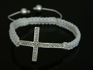 Shamballa Style White with Crystal Cross Bracelet BB5W