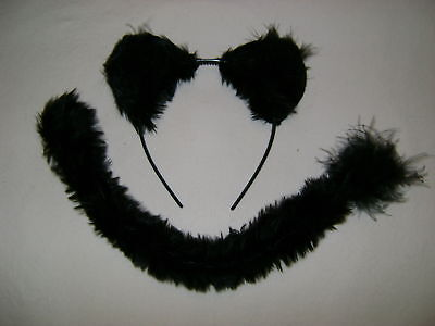 Halloween Fancy Dress Black Panther/Jaguar/Wild Cat/Dog Faux Fur Ears & Tail Set ()