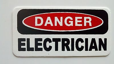 3 - Danger Electrician Lunch Box Hard Hat Oil Field Tool Box Helmet Sticker