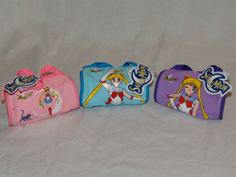 """NEW WITH TAGS 1999 LOT OF 3 SAILOR MOON COIN PURSE SMALL DUFFLE BAG 2"""" X 3"""""""